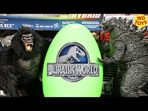 New Giant Jurassic World Surprise Egg King Kong Vs Godzilla Skull Island Unboxing