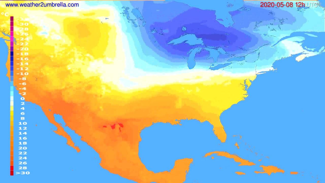 Temperature forecast USA & Canada // modelrun: 00h UTC 2020-05-08