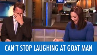 Reporters Can't Stop Laughing At Goat Man News Fail