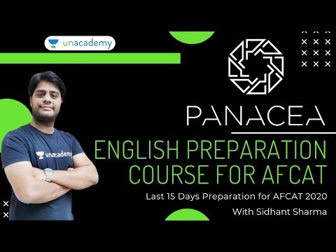 PANACEA - English Preparation Course for AFCAT | English For AFCAT 2020 | English by Sidhant Sharma