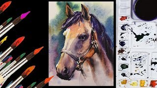 HORSE PAINTING # WATERCOLOR HORSE