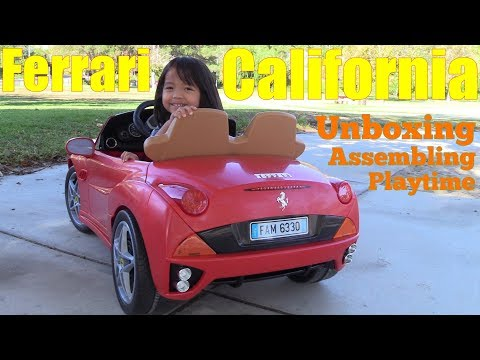 Ferrari Toy Car for Kids. 12 Volts Ferrari Ride-On Power Wheels. A Red Ferrari California Sportscar