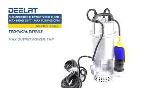 Submersible Electric Sump Pump - Max Head 65 FT (20M) - Max Flow 65 GPM (15 m3/H)