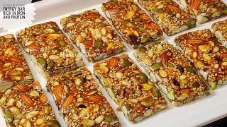 Sugar-free Iron And Protein Rich Energy Bar - Protein Bar Recipe/ Granola Bar Recipe