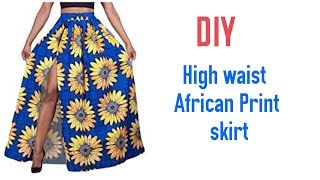 DIY High Waist African Print Skirt With Elastic