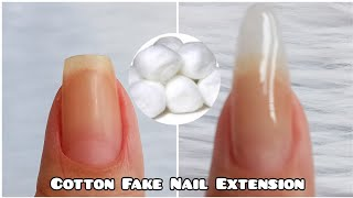 HOW TO MAKE FAKE NAILS WITH COTTON | DIY COTTON FAKE NAIL EXTENSION AT HOME