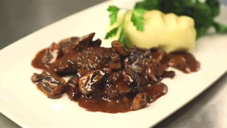 Nick's Peppered Scotch Beef fillet strips with whisky and mushroom sauce