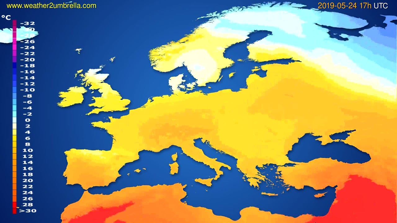 Temperature forecast Europe // modelrun: 00h UTC 2019-05-23