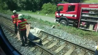 Průjezd kolem smrtelné nehody (střet vlaku s osobou, Dýšina u Plzně, 23. 6. 2016)