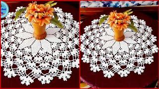كروشي  مفرش دائري  سهل و جميل للمبتدئين الجزء الرابع Crochet Doily Easy Part 4
