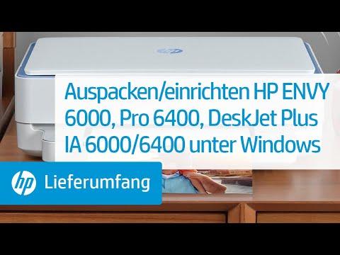 So packen Sie einen Drucker der Serie HP ENVY 6000/ENVY Pro 6400/DeskJet Plus Ink Advantage 6000/6400 aus und richten diesen unter Windows ein