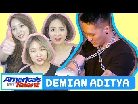 KOREANS REACTION TO DEMIAN ADITYA: Escape Artist Attempts Deadly Performance - America's Got Talent (видео)