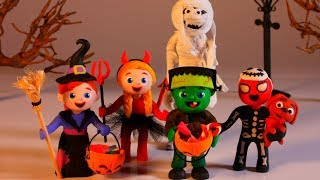 SUPERHERO BABIES PLAY TRICK OR TREAT ❤ Superhero Babies Play Doh Cartoons For Kids