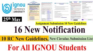 16 New Notification For IGNOU Students | 10 Regional Centre Assignment Guidelines, New Circular etc. - CENTRE