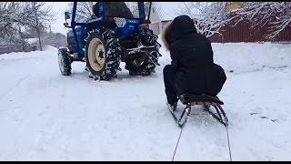 На санках за трактором! Iseki LendLeader 275. Зима 2016.