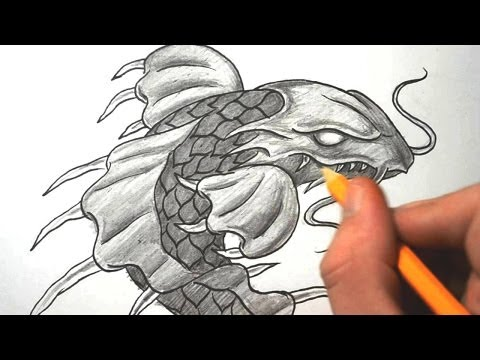 How to Draw a Dragon Koi Fish & Coverup Tattoo Videos