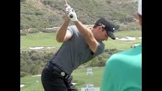 Charl Schwartzel Golf Swing Upper Body, Iron, Slow Motion, World Matchplay, Down the Line