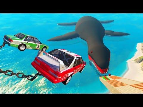 МАШИНЫ летят в РОТ ГИГАНТСКОГО МОНСТРА в игре BEAMNG DRIVE