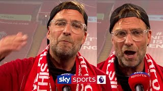 SUBSCRIBE ► http://bit.ly/SSFootballSub PREMIER LEAGUE HIGHLIGHTS ► http://bit.ly/SkySportsPLHighlights Jurgen Klopp gave an passionate interview to Sky Sports after Liverpool lifted the Premier League title.  Watch Premier League LIVE on Sky Sports here ► http://bit.ly/WatchSkyPL ►TWITTER: https://twitter.com/skysportsfootball ►FACEBOOK: http://www.facebook.com/skysports ►WEBSITE: http://www.skysports.com/football  MORE FROM SKY SPORTS ON YOUTUBE: ►SKY SPORTS CRICKET: https://bit.ly/SubscribeSkyCricket ►SKY SPORTS BOXING: http://bit.ly/SSBoxingSub ►SOCCER AM: http://bit.ly/SoccerAMSub ►SKY SPORTS F1: http://bit.ly/SubscribeSkyF1