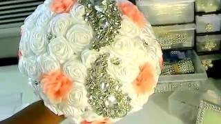 #1 How To DIY Brooch Bouquet  No Wires Easy Bling  Wedding Project