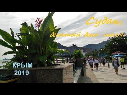 Крым, СУДАК 2019, Пляж, Набережная 10 июля. Вечер, много народу, приплыли дельфины