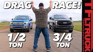 What's The Quickest Ford Truck? F-150 5.0L vs 2.7L vs F-250 Diesel Drag Race Extravaganza!