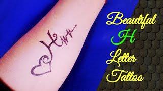 Beautiful H Letter Tattoo By Tattoo By KK