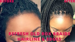 HOW TO REFRESH OLD BOX BRAIDS ( FRIZZY LOOSE) & EDGES UNDER 10 MINUTES