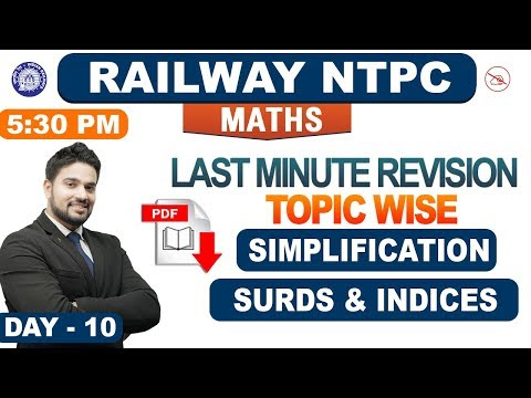 Simplification   Surds & Indices   Last Minute Revision   Previous Year   Maths   NTPC Railway 2019
