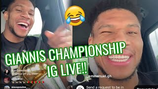Giannis Antetokounmpo HILARIOUS IG Live After Winning Championship! Orders 50 Nuggets 😂