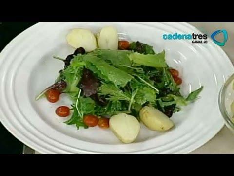 Receta de como preparar ensalada del rancho con queso de cabra y hierbas. Receta de ensalada