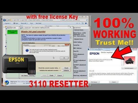 How to Resetting Service Printer Epson L3110, L3150 Free Download