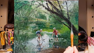 Catching Lunch - River Fishing - Palette Knife | Brush Oil Painting - Trees Reflection Dusan