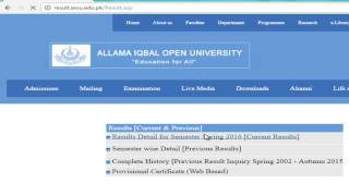 Find result From allama iqbal open university