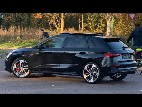 English Review Audi NEW S3 (310hp) Quattro 2021 in 4K Mythosblack 8j x19inch Allows Walk around