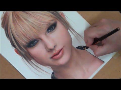 Colored Pencil Drawing Taylor Swift / 色鉛筆画 テイラースウィフト 完成までの一部始終 動画 早送り
