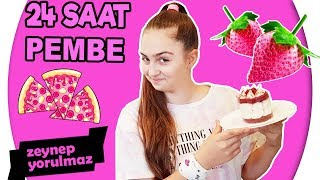 24 SAAT BOYUNCA TEK RENK HER ŞEY PEMBE!!! ( Pembe Pizza - Pembe Yumurta - Pembe Su )