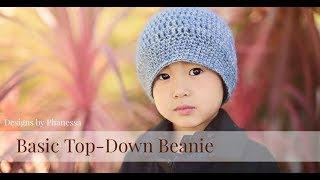 Crochet Basic Top Down Beanie Tutorial (Any Size)