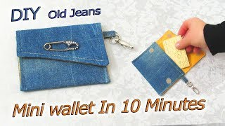 DIY Mini Wallet Purse Out Of Old Jeans In 10 Minutes - Small Envelope Pouch - Tutorial