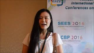 Ms. Yukun Ma at SEES Conference 2016 by GSTF Singapore