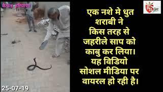 नशे मे धुत शराबी ने किस तरह से जहरीले साप को काबू किया, देखें वीडियो 25-07-19