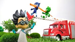 Игры для мальчиков с игрушками! Герои в Масках спасают лес от огня 🌳 🔥! #Ромео повержен!