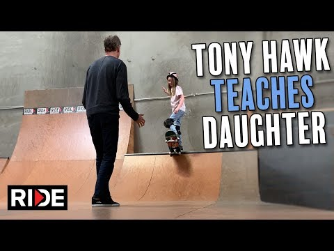 Tony Hawk Teaches Daughter to Drop In