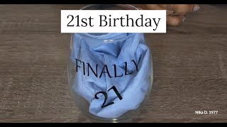 DIY Easy 21st Birthday Glass With Silhouette & Vinyl