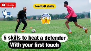 How To Beat A Defender With Your First Touch In Soccer | How To Beat Any Defender In Soccer Football