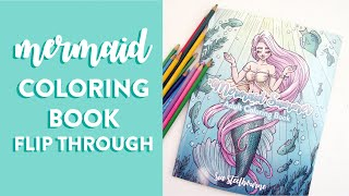 MERMAID COLORING BOOK Flip Through   Fantasy Adult Coloring Book With Mermaids