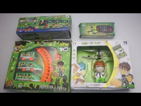 Collection Of Ben10 Train Track Set,Ben 10 Alien Force City Bus.Ben 10 helicopter And Others