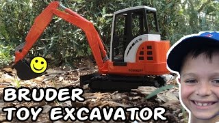 Construction Truck Videos For Children l BRUDER TOY EXCAVATOR UNBOXING l Garbage Trucks Rule