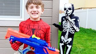 Spiderman Saves The Nerf Nitro Pack - In Real Life BeaheroKids Skit