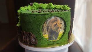 """""""ЛЕСНОЙ"""" декор для торта🌿кора, мох, японский заварной бисквит 🌿 FOREST cake decoration"""